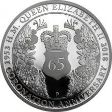 Stříbrná mince 65. výročí korunovace Alžběty II. 1 Oz 2018 Proof