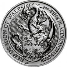 Platinová investičná minca The Queen 's Beasts Red Dragon 1 Oz 2018