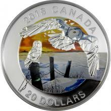 Stříbrná mince Sova sněžná 1 Oz Geometric Fauna 2018 Proof