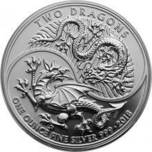 Stříbrná investiční mince Dva draci 1 Oz 2018