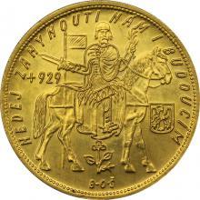 Zlatá mince Svatý Václav Pětidukát Československý 1934