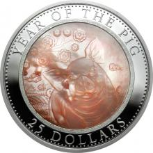 Stříbrná mince 5 Oz Year of the Pig - Rok Vepře 2019 Perleť Proof