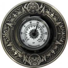 Stříbrná mince 2 Oz Termometr aztécký kalendář 2018 Antique Standard