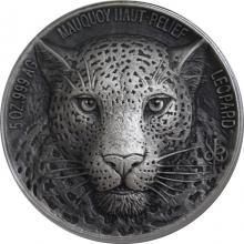 Strieborná minca 5 Oz Leopard The African Big Five High Relief 2018 Antique Standard