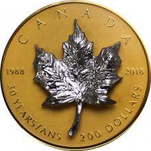 Zlatá mince 3D stříbrný Maple Leaf 1 Oz - 30. výročí 2018 Proof