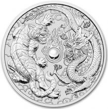 Strieborná investičná minca Drak a tiger 1 Oz 2018