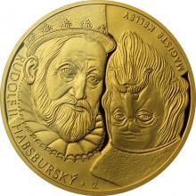 Zlatá dvouuncová investiční mince Rudolf II. Habsburský a Magistr Kelley 2018 Proof