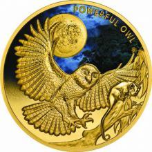Zlatá kolorovaná mince Powerful Owl 1 Oz 2018 Proof
