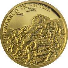 Zlatá mince Válečný rok 1943 - Invaze na Sicílii 2018 Proof
