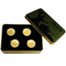 Sada čtyř zlatých mincí Válečný rok 1943 2018 Proof