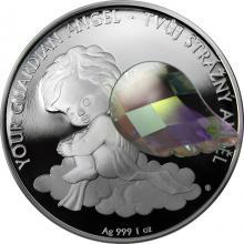 Stříbrná mince Crystal Coin - Anděl strážný - crystal AB 2018 Proof