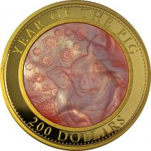 Zlatá mince 5 Oz Year of the Pig - Rok Vepře 2019 Perleť Proof