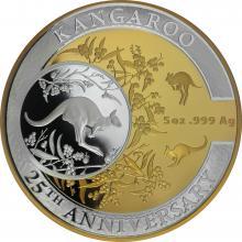 Stříbrná pozlacená mince Kangaroo série - 25. výročí 5 Oz 2018 Proof