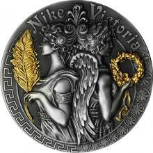 Stříbrná pozlacená mince Bohyně: Niké a Viktoria 2 Oz High Relief 2018 Antique standard