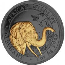 Strieborná Ruténium minca pozlátený Slon africký 1 Oz Golden Enigma 2018 Proof