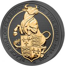 Stříbrná Ruthenium mince pozlacený Queen's Beasts Black Bull 2 Oz Golden Enigma 2018 Proof
