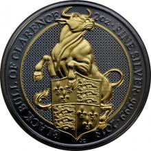 Stříbrná Ruthenium mince pozlacený Queen´s Beasts Black Bull 2 Oz Golden Enigma 2018 Proof