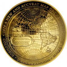 Zlatá mince 1626 - Nová mapa světa 2018 Proof