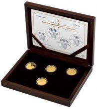 Sada zlatých replik československých mincí a medaile Jiřího Harcuby Proof