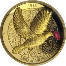 Zlatá mince 100. výročí konce I. světové války 2 Oz High Relief 2018 Proof
