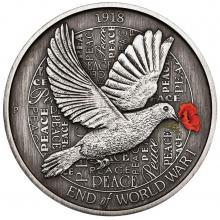 Stříbrná mince 100. výročí konce I. světové války 5 Oz 2018 Antique Standard