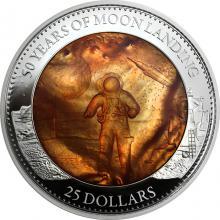 Stříbrná mince 5 Oz Přistání na Měsíci 50. výročí 2019 Perleť Proof