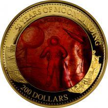 Zlatá mince 5 Oz Přistání na Měsíci 50. výročí 2019 Perleť Proof