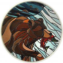 Stříbrná kolorovaná mince Medvěd grizzly 1 Oz Canadian Mosaics 2018 Proof