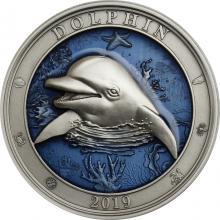 Stříbrná mince 3 Oz Podmořský svět - Delfín 2019 Antique Standard