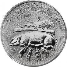 Stříbrná investiční mince Rok Vepře Lunární The Royal Mint 1 Oz 2019