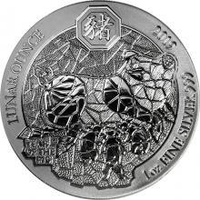 Stříbrná investiční mince Rok Vepře Rwanda 1 Oz 2019