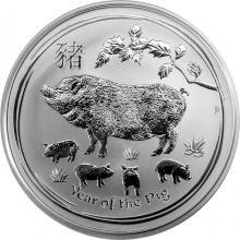 Stříbrná investiční mince Year of the Pig Rok Vepře Lunární 1 Oz 2019