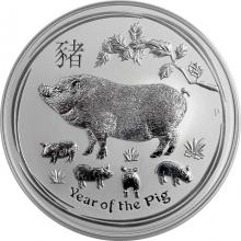 Strieborná investičná minca Year of the Pig Rok Prasaťa Lunárny 5 Oz 2019