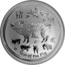 Strieborná investičná minca Year of the Pig Rok Prasaťa Lunárny 10 Oz 2019