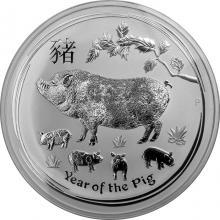 Strieborná investičná minca Year of the Pig Rok Prasaťa Lunárny 1 Kg 2019
