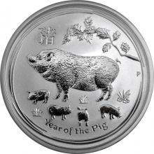 Stříbrná investiční mince Year of the Pig Rok Vepře Lunární 1/2 Oz 2019