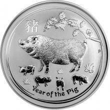 Stříbrná investiční mince Year of the Pig Rok Vepře Lunární 2 Oz 2019