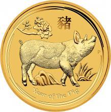 Zlatá investiční mince Year of the Pig Rok Vepře Lunární 10 Oz 2019