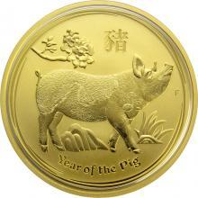 Zlatá investiční mince Year of the Pig Rok Vepře Lunární 1 Oz 2019