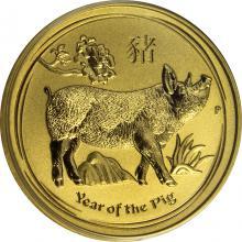 Zlatá investiční mince Year of the Pig Rok Vepře Lunární 1/4 Oz 2019