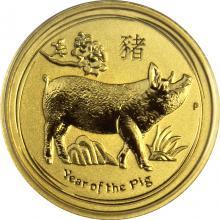 Zlatá investiční mince Year of the Pig Rok Vepře Lunární 1/10 Oz 2019