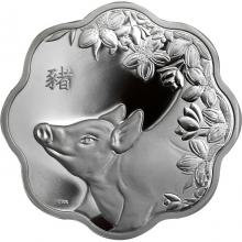 Stříbrná mince Year of the Pig Rok Vepře Lotos 2019 Proof