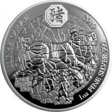 Stříbrná mince 1 Oz Rok Vepře Rwanda 2019 Proof