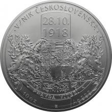 Stříbrná desetiuncová mince Vznik Československa 2018 Standard