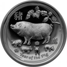 Stříbrná mince Year of the Pig Rok Vepře Lunární 1 Oz High Relief 2019 Proof
