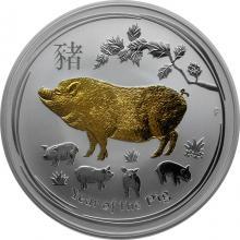 Stříbrná mince pozlacený Year of the Pig Rok Vepře Lunární 1 Oz 2019 Standard