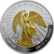 Stříbrná mince pozlacená Příměří z Compiegne - Battlefront series 1 Oz 2018 Proof