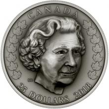 Strieborná minca Elizabeth II. - hlava kráľovskej rodiny 2018 Antique Standard