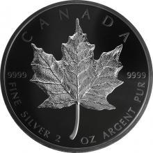 Stříbrná mince Maple Leaf - pokovená černým rhodiem - limitovaná edice 2 Oz 2019 Proof