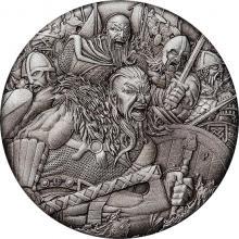 Stříbrná mince Válečnictví - vikingové 2 Oz 2018 Antique Standard